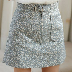 SUYISODA - Floral Print A-Line Skirt