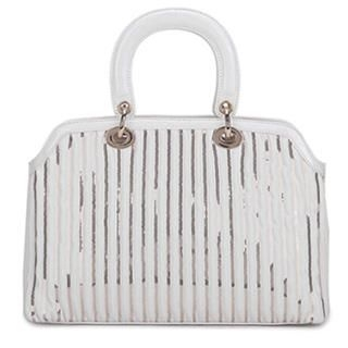 Sequined-Stripe Patent Satchel