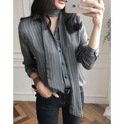 UPTOWNHOLIC - Tie-Front Striped Blouse