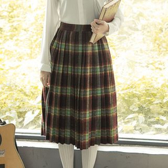 Sens Collection - Plaid Pleated Midi Skirt