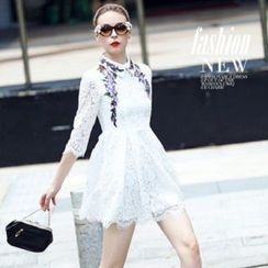 Ozipan - 3/4-Sleeve Embroidered Lace Dress