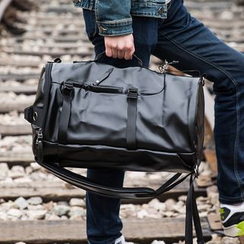 Yiku - Faux Leather Duffel Backpack