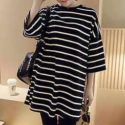 Shimi - Striped Loose Fit Crewneck T-Shirt