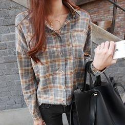 NIPONJJUYA - Pocket-Front Plaid Shirt