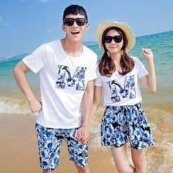 Azure - Couple Matching Set: Lettering Short Sleeve T-Shirt + Printed Shorts