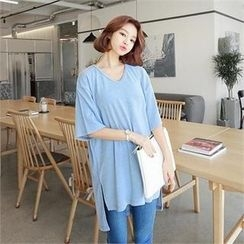 ZIZIBEZIRONG - V-Neck 3/4-Sleeve Long T-Shirt