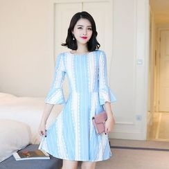 Emeline - Striped Bell-Sleeve A-Line Dress