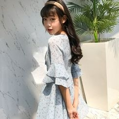 Cherry Dress - Floral Print Elbow Sleeve Chiffon Dress