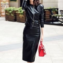 Donnae - Set: Faux Leather Jacket + Midi Skirt