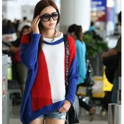 SO Central - Wool-Blend Color Block Oversized Sweater