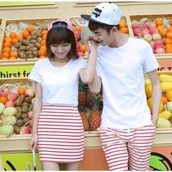 Love Affairs - Striped Couple Shorts / Skirt