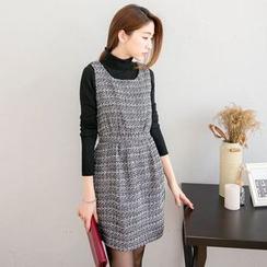 東京著衣 - 無袖粗花呢連衣裙