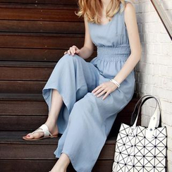 Jolly Club - Sleeveless Gather-Waist Jumpsuit
