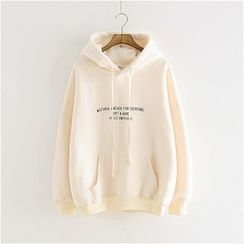 Storyland - Lettering Hooded Fleece-Lined Pullover