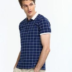 Yishion - Short Sleeve Check Polo Shirt