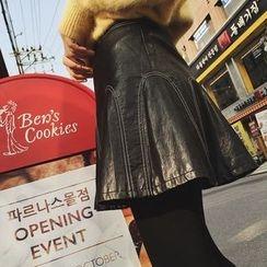 Nicki Studio - Faux-Leather A-Line Skirt