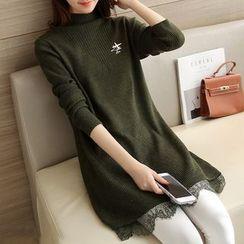 Ageha - Lace Hem Mock Neck Knit Tunic