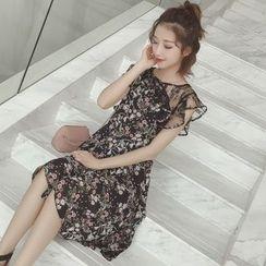 Munai - Lace Panel Floral Chiffon Dress