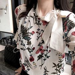 Marlangrouge - Tie-Neck Floral Print Blouse
