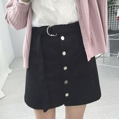 Enocula - Buttoned A-Line Skirt