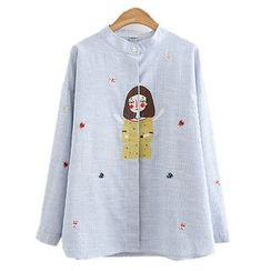ninna nanna - Embroidered Band Collar Shirt