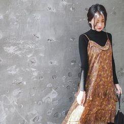mimi&didi - Spaghetti-Strap Patterned Tiered Dress