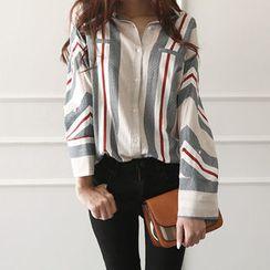 NIPONJJUYA - Dolman-Sleeve Stripe Shirt