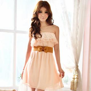 Tokyo Fashion - Strapless Lace-Trim Ruffle Dress
