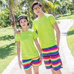 Sunset Hours - Couple Matching Stripe Shorts