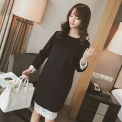 Bloombloom - Lace Trim Long-Sleeve Dress