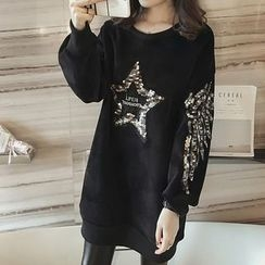 lilygirl - Star Sequined Pullover Dress