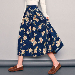 HOTPING - Tie-Waist Floral Print Midi Skirt