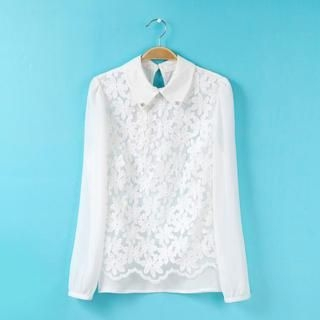 Flower Idea - Lace-Panel Rhinestone Chiffon Blouse
