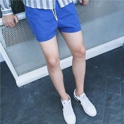 Mr. Cai - Drawstring Contrast-Trim Shorts