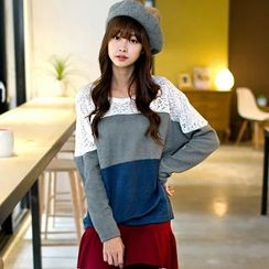 OrangeBear - Lace-Panel Color-Block Sweater