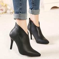 Mancienne - Zip Heel Ankle Boots