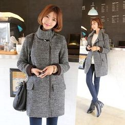 CLICK - Wool Blend High-Neck Zip Coat