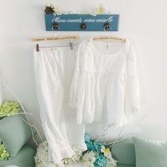 Snorie - Pajama Set: Plain Frill Trim Long Sleeve Top + Pants