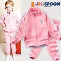 JELISPOON - Kids Set: Contrast-Trim Zip-Up Jacket + Sweatpants