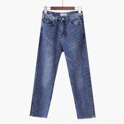 City of Dawn - Washed Slit-Hem Cropped Jeans