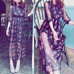 Arroba - Elbow-Sleeve Floral Maxi Dress