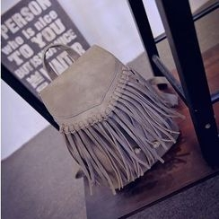 Coxchamp - Fringed Faux Leather Backpack