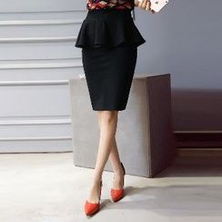 Romantica - Peplum Pencil Skirt