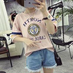 Ukiyo - Printed Elbow Sleeve T-Shirt