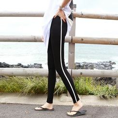 Seoul Fashion - Contrast-Trim Leggings