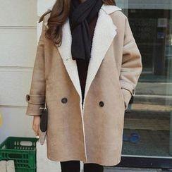 lilygirl - Faux Suede Lapel Coat