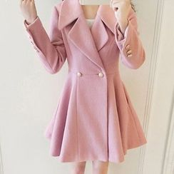 Fashion Street - Double-Breasted A-Line Coat