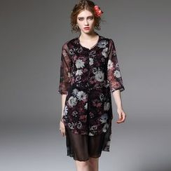 Y:Q - Floral Print 3/4-Sleeve Long Blouse