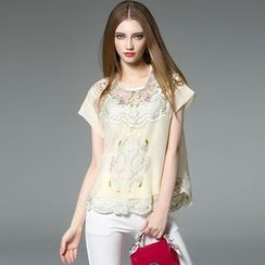 Y:Q - Embroidered Short-Sleeve Top