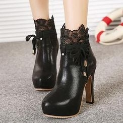 Mancienne - Lace Panel Heel Ankle Boots